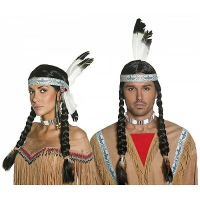 Indian Wig and Feather Headband Adult Mens/Womens Pocahontas Costume Fancy Dress