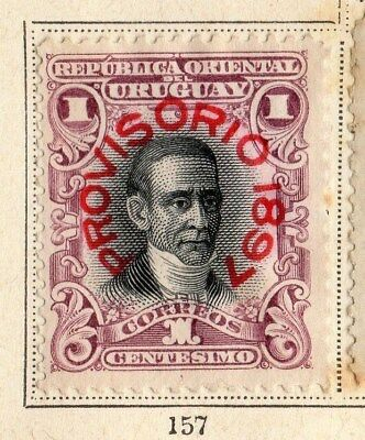 Uruguay 1897 Early Issue Fine Mint Hinged 1c. Optd 096073