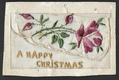 Vintage Postcard - Silk Embroided A Happy Christmas #1 - Free Postage