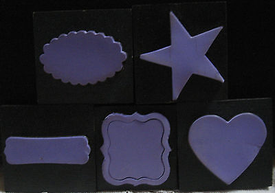 Lot of Five (5) Purple Sizzix Movers & Shapers Dies  Star, Heart 3 Name Plates