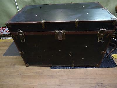 Vintage Black Trunk with metal accents and inner shelf Leather handles steamer