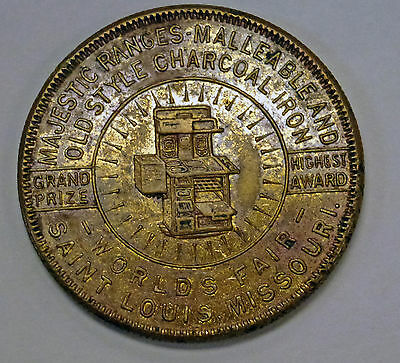 {BJSTAMPS}  1904 St. Louis World's Fair Majestic Ranges GRAND PRIZE  Token