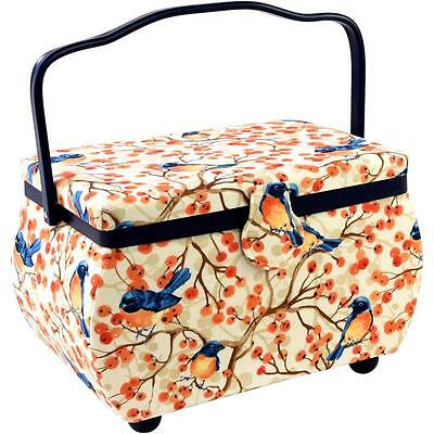 Bird + Berries Sewing Basket Rectangle w/ Notions Tray and Pincushion