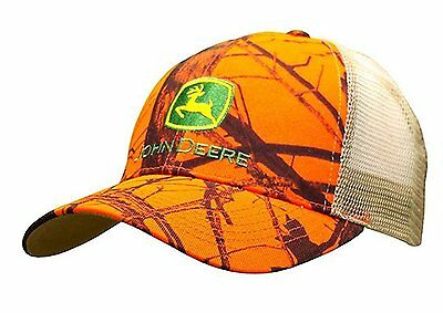JOHN DEERE *MOSSY OAK BLAZE ORANGE CAMO MESH* Trademark Logo HAT CAP *BRAND NEW*