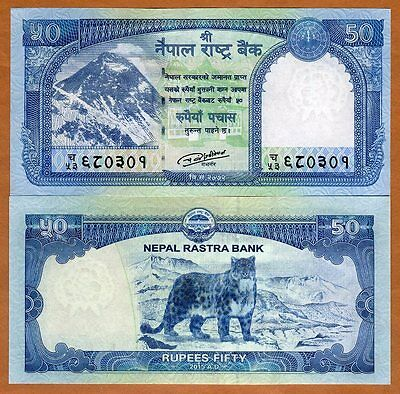 Nepal, 50 Rupees, 2015 (2016), P-New, UNC Everest, Snow Leopard