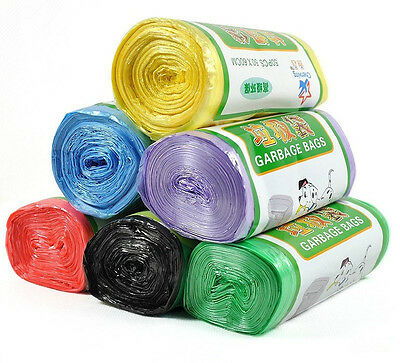 1-Roll(50pcs) Rubbish Garbage Kitchen Toilet Clean-up Waste Trash Bags 5 Colors