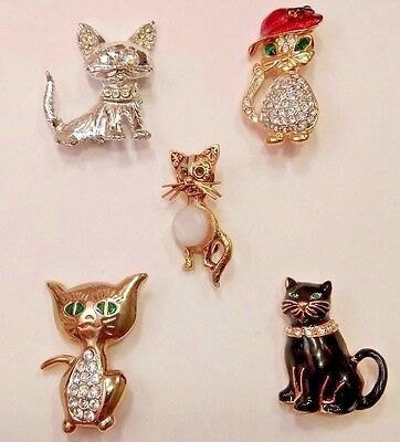 5 Cute Kitty Cat Costume Brooches Pins.