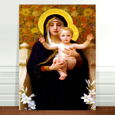 Bouguereau the Madonna of the Lilies ~ FINE ART CANVAS PRINT 36x24""
