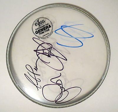 """Toto band REAL hand SIGNED 10"""" Drumhead COA Lukather +3 Africa EXACT PROOF"""