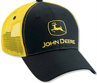 JOHN DEERE *BLACK & YELLOW* Twill Mesh CAP HAT *BRAND NEW*
