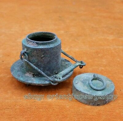 antique Shang  Zhou bronze old dynasty excellent carved statue pot N folk