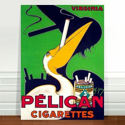 "Vintage Tobacco Advertising Poster Art ~ CANVAS PRINT 36x24"" Pelican Cigarettes"