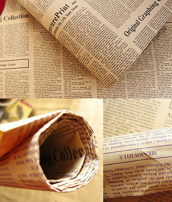 Retro Wrapping Paper Wrap Gift Wrap Double Sided Newspaper Kraft Paper Vintage