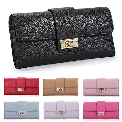 Fashion Womens Leather Bifold Wallet Clutch Card Holders Purse Lady Long Handbag