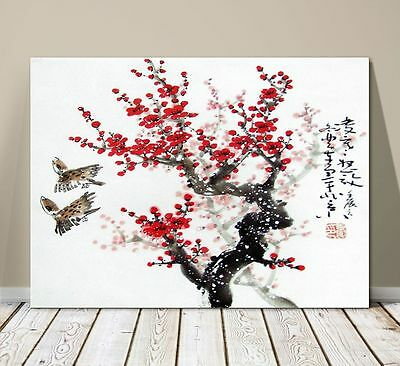 "Beautiful Japanese Landscape Art ~ CANVAS PRINT 36x24"" ~ Cherry Blossums 2 Birds"