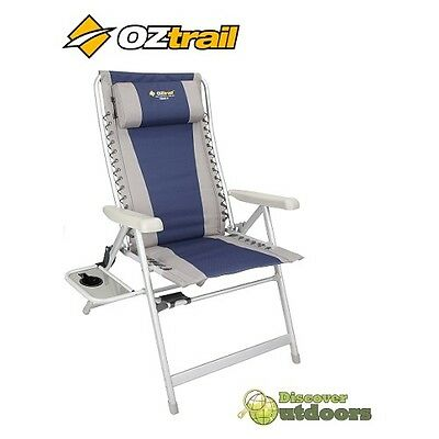 NEW OZtrail Kakadu 8 Position Jumbo Camp CHAIR + SIDE TABLE Recliner Camping