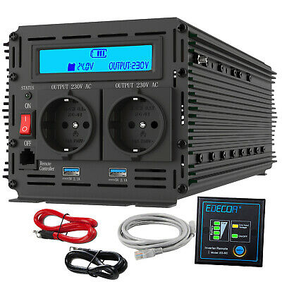 3000W 6000W peak Power Inverter DC 24V to AC 240V Converter with LCD Soft start