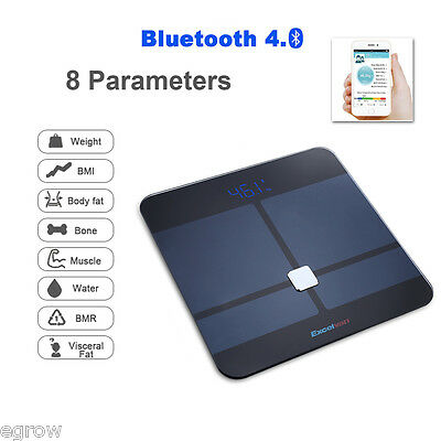 Wireless Bluetooth Digital Body Fat Smart Scale BMI Analyser APP for iOS Android