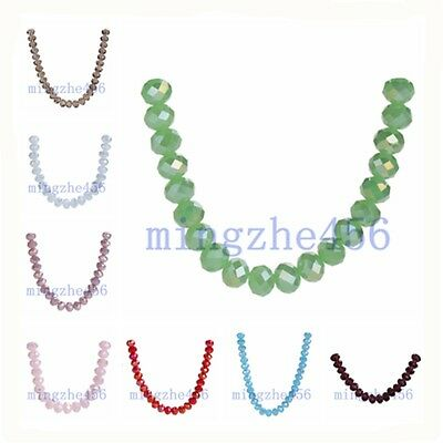 Wholesale 6mm Faceted Glass Crystal Jewelry Findings Rondelle Loose Spacer Beads