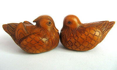 "Y3778 --- 2"" Hand carved Boxwood Netsuke - Mandarin Duck Pair"