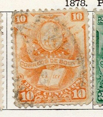 Bolivia 1878 Early Issue Fine Used 10c. 096652