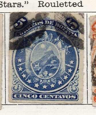 Bolivia 1887 Early Issue Fine Used 5c. Rouletted 096656