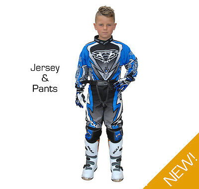 Wulfsport Attack Cub Kids Youth MX Motocross Off Road Pant + Jersey Set - Blue