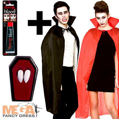 Vampire Cape with Collar + Fangs + Blood Fancy Dress Halloween Adult Costume New