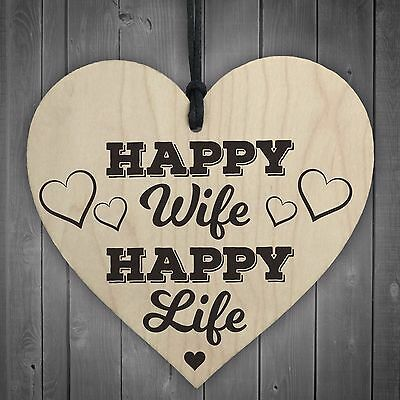 Hanging Happy Wife Plaque Wedding Wooden Wall Married Chic Gift Idea Novelty