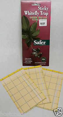 3 New SAFER Sticky Whitefly Traps, Garden Trap for Flying Insects