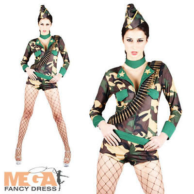 Hat UK Sizes 6-24 Ladies Army Combat Cutie Military Soldier Camouflage Costume