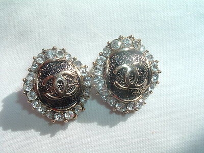 Vintage Cc Clip Earrings With Rhinestones And Enamel In Gift Box
