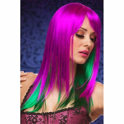 Parrucca donna capelli lunghi viola cosplay halloween carnevale lungo festa