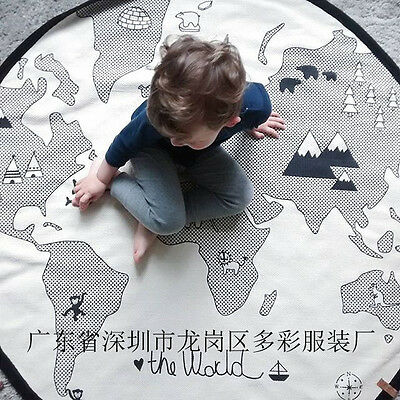World Map Child Kids Fun Playtime Play Mat Rug Nursery Bedroom Non-Slip Carpet