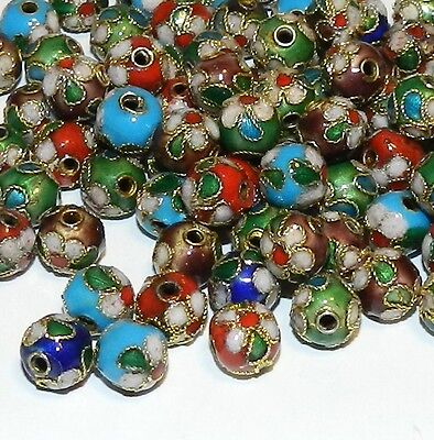 CLL112L Assorted Color 7mm Round Enamel Overlay on Metal Cloisonne Beads 50/pkg