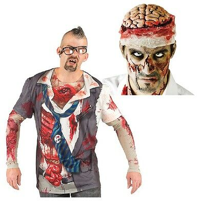 NEW (Set) Mens Double-Layer Zombie Tee Shirt Size 2X and Zombie Brains Headwear