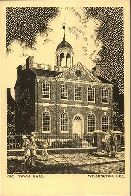 Wilmington DE Pencil Sketch Postcard OLD TOWN HALL gfz