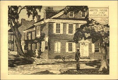Wilmington DE Pencil Sketch Postcard AMSTEL HOUSE gfz