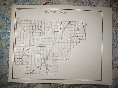Antique 1931 Morgan Moultrie County Illinois Highway Road Map Jacksonville Rare
