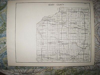 Antique 1931 Henry Iroquois County Illinois Highway Road Map Watseka Kewanee Nr