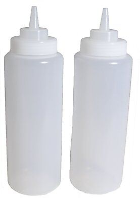 2x 32 OZ. (OUNCE) LARGE CLEAR SQUEEZE BOTTLE, CONDIMENT SQUEEZE BOTTLE US SELLER