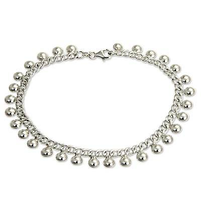 Sterling Silver Anklet 925 Handmade 10.5 in 'Palace Charms' NOVICA Bali