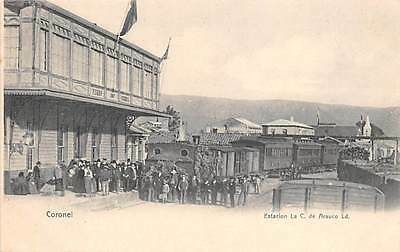 CORONEL, CHILE ~ RAILROAD STATION, TRAIN, PEOPLE ~  c. 1902