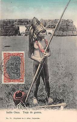 CHILE ~ ONAS INDIAN YOUNG MAN WEARING WAR COSTUME WITH WEAPON ~  used 1911