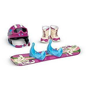 New In Box American Girl Doll Snowboard + Gear Set Helmet Boots Goggles Retired