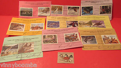 Vintage Indiana Hunting And Fishing Licenses Lot 1980's With Stamps Fish,birds..