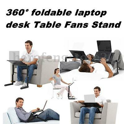 Balck/Pink Adjustable Stand Laptop Notebook PC Vented Table Desk Sofa Bed Tray