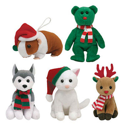 TY Holiday Baby Beanies - 2010 Complete set of 5 (Goodies, Twinkling, Sleds++)