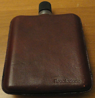 "Brookstone Brown Leather Drinking Flask bottle Made in Germany 5.5"" X 4"" alcohol"