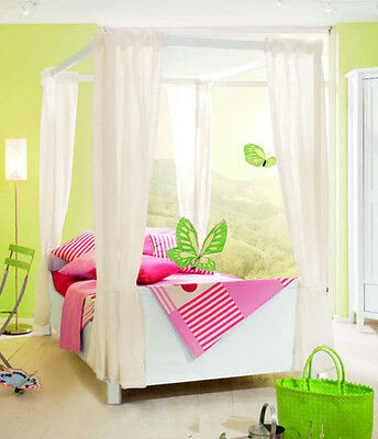 Kids Girls BED CANOPY Curtains FOURPOSTER Drape Set WHITE CREAM PINK LILAC Voile